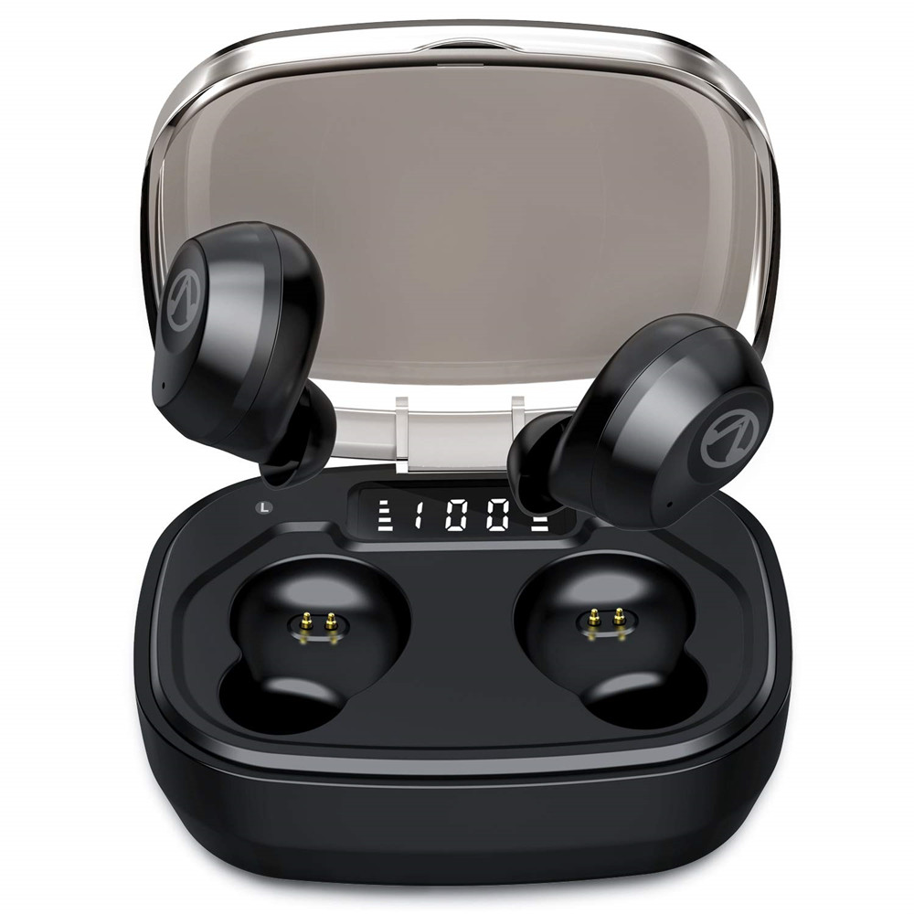 X10P Bluetooth 5.0 Wireless Earbuds with Portable Charging Case Touch Control In-Ear Earphones Built-in Mic  black