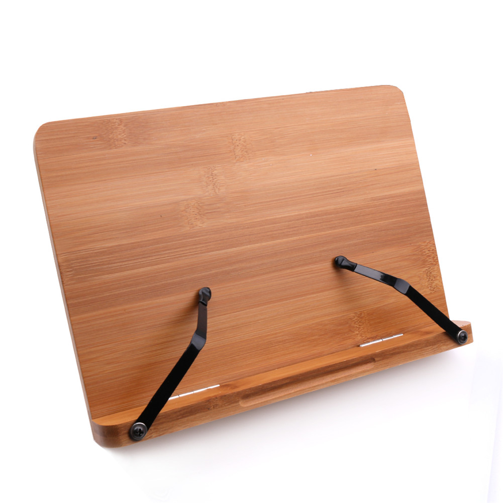 Portable Foldable Desktop Bamboo Book Stand Reading Holder for Music Books Textbooks Tablets Laptop with Clips(Carton) Wood color_S