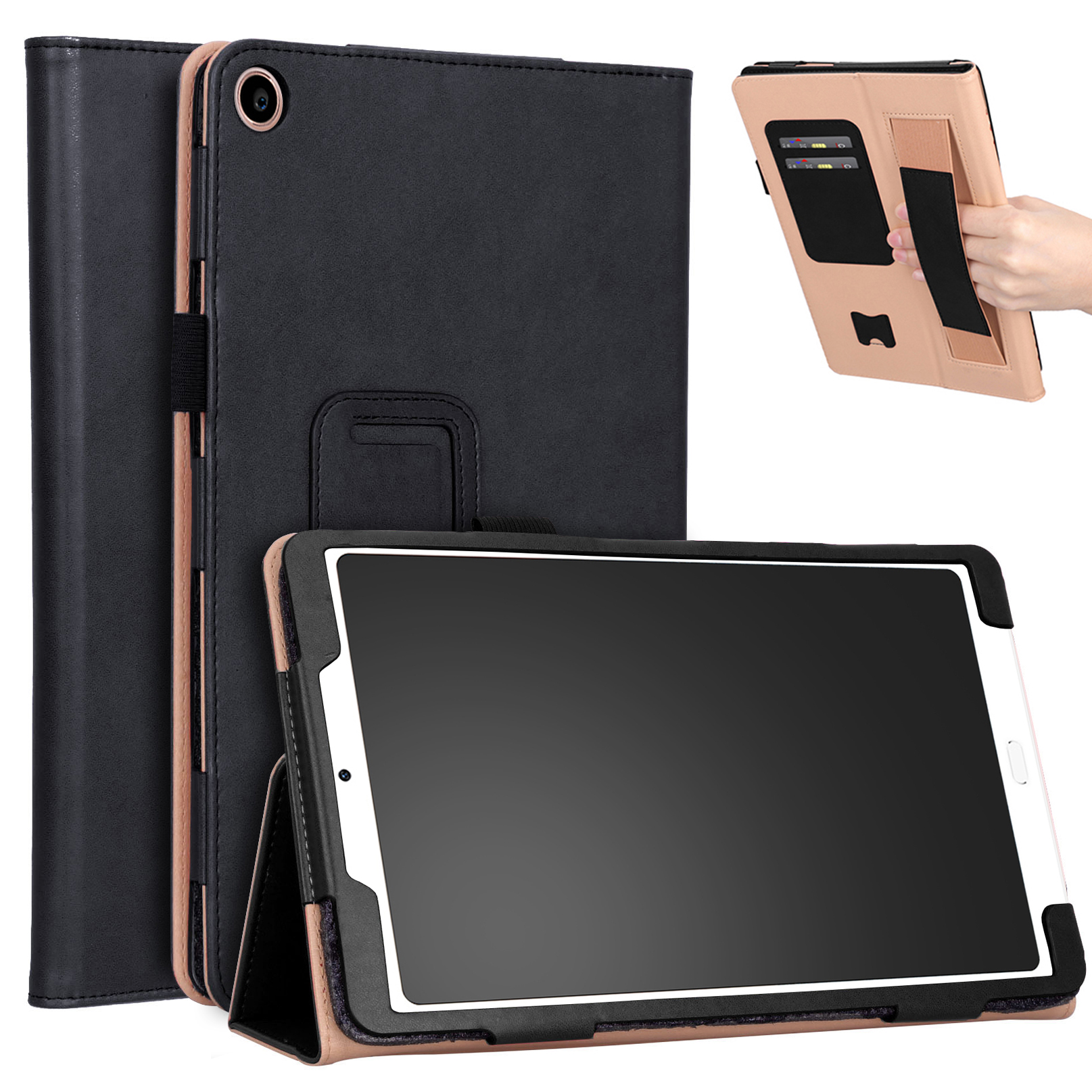 For Xiaomi tablet 4 plus 10.1 Retro Pattern PU Tablet Protective Case with Hand Support Card Slot Bracket Sleep Function black_Xiaomi tablet 4 plus 10.1