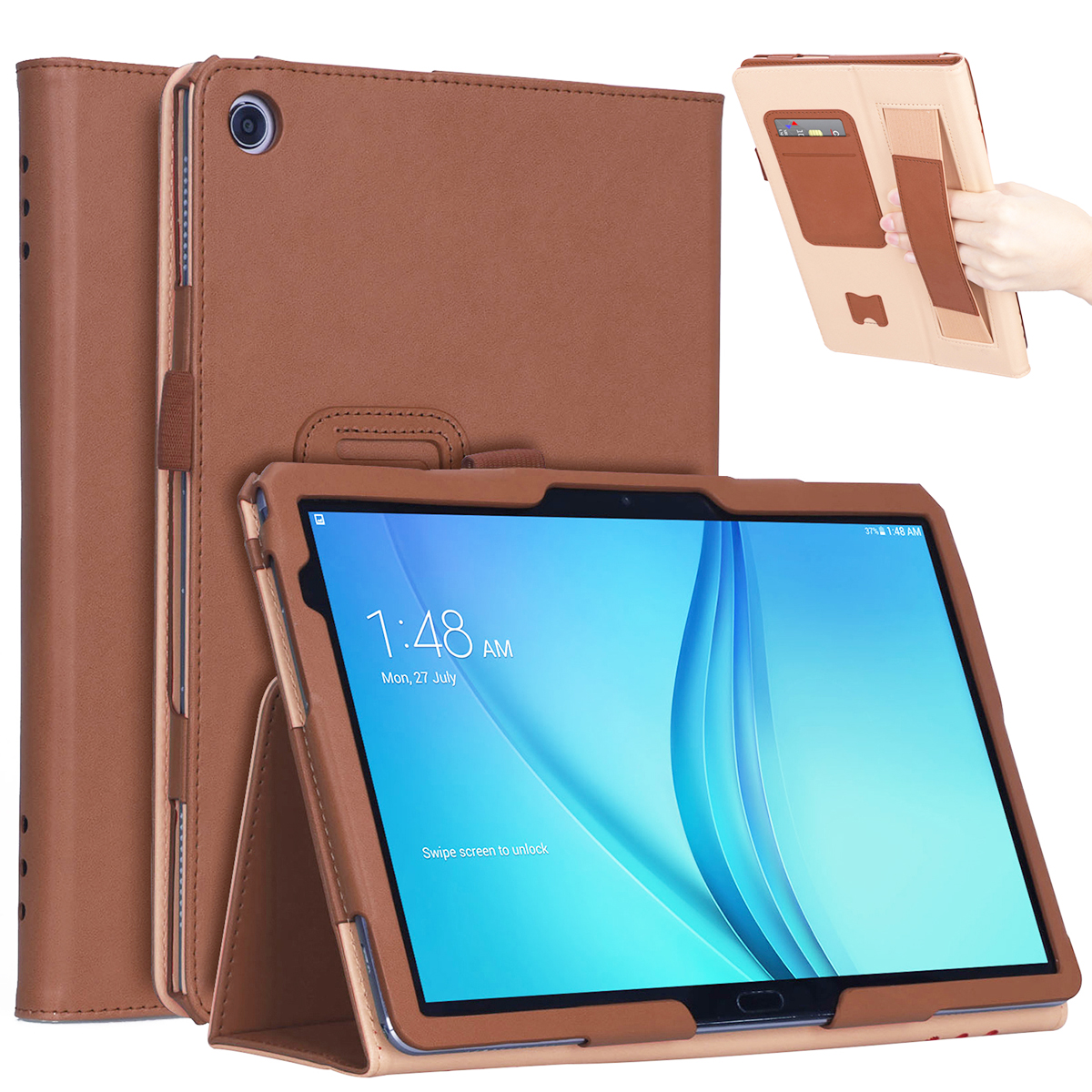 For HUAWEI M5 lite 10.1 Retro Pattern PU Leather Protective Case with Hand Support Pen Slot Sleep Function brown_HUAWEI M5 lite 10.1