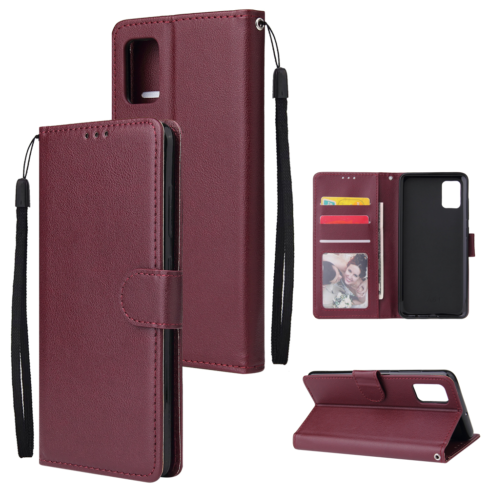 For Samsung A51 Phone Case PU Leather Shell All-round Protection Precise Cutout Wallet Design Cellphone Cover  Wine red
