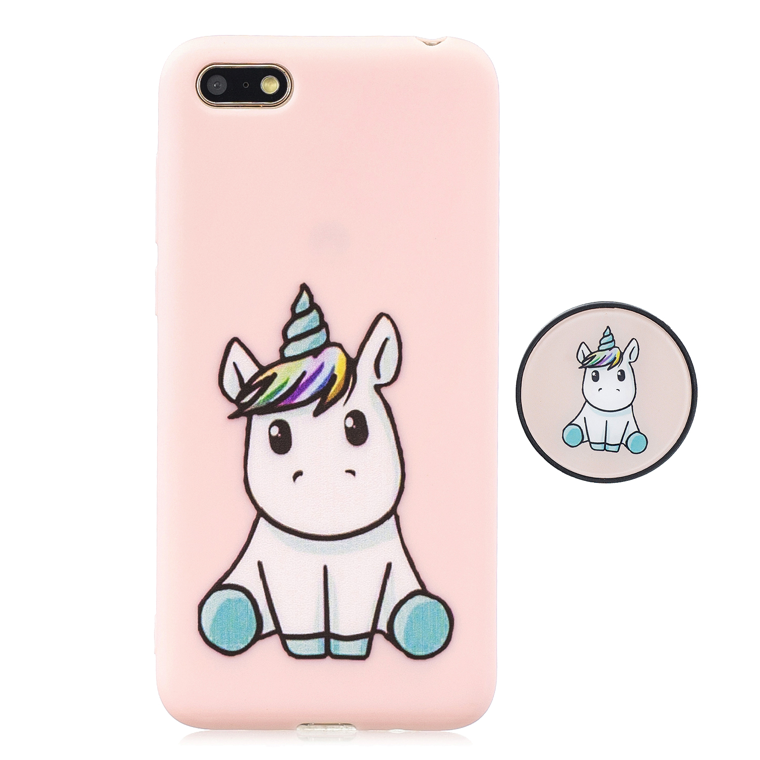 For HUAWEI Y5 2018 Pure Color Phone Cover Cute Cartoon Phone Case Lightweight Soft TPU Full Cover Phone Case with Matching Pattern Adjustable Bracket 6