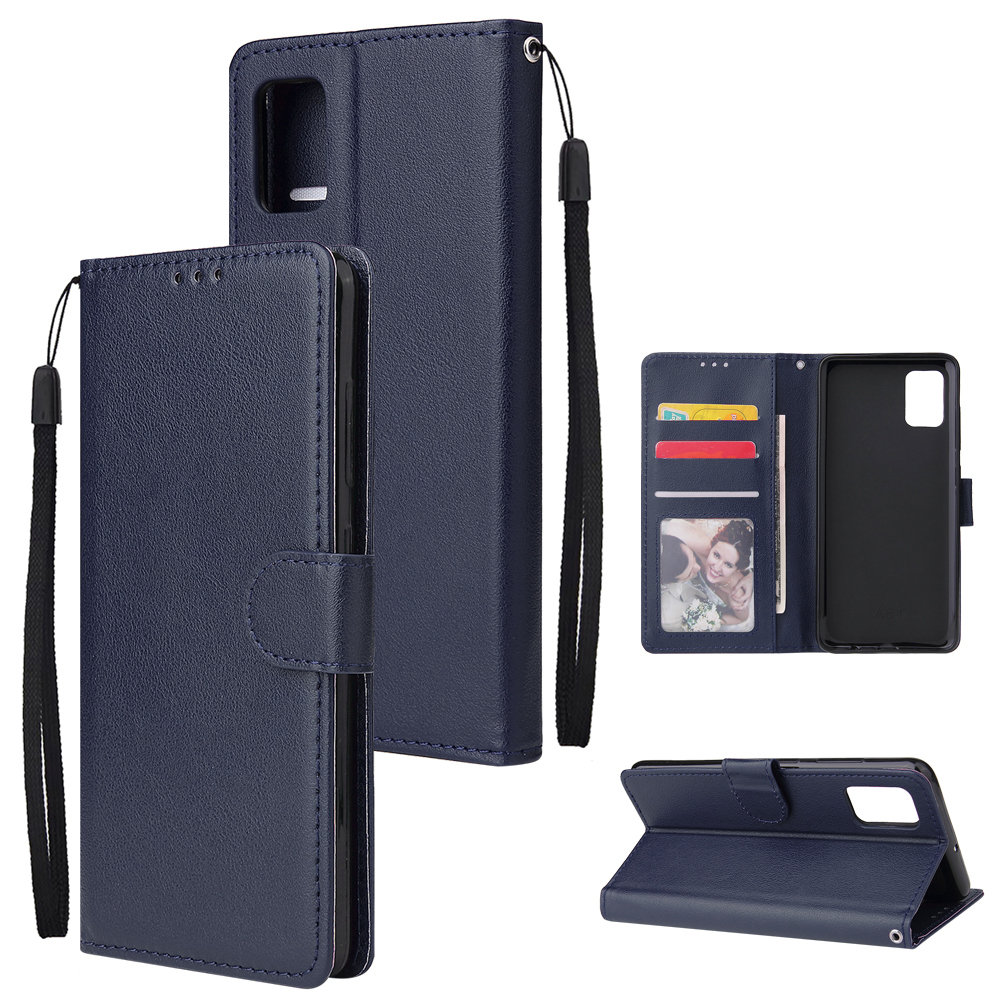 For Samsung A51 Phone Case PU Leather Shell All-round Protection Precise Cutout Wallet Design Cellphone Cover  Blue
