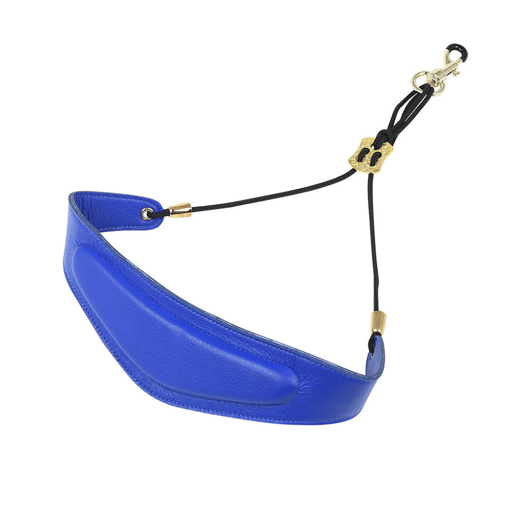 Saxophone Neck Band Leather Neck Strap Leather Mat + Metal Buckle Saxophone Accessories blue_F-75