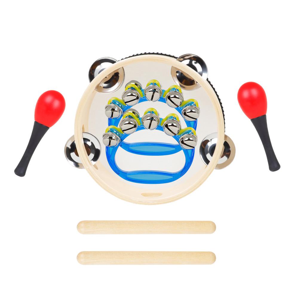 5Pcs/Set Kids Musical Instrument Set Music Education Toys for Kids Clave Sticks Tambourine Maracas colors