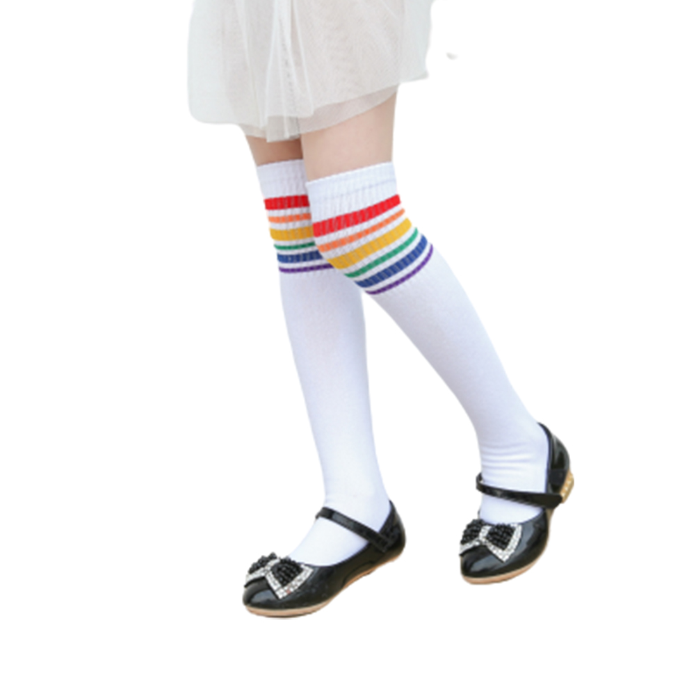Girls'  Socks Rainbow Over-the-knee Cotton Mid-calf Length Socks for 2-6 Years Old  Kids white_L