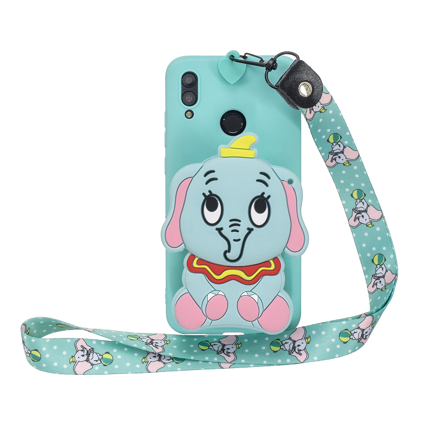 For HUAWEI Y6 2019 Y7 2019 Y9 2019 Cartoon Full Protective TPU Mobile Phone Cover with Mini Coin Purse+Cartoon Hanging Lanyard 2 light blue elephant