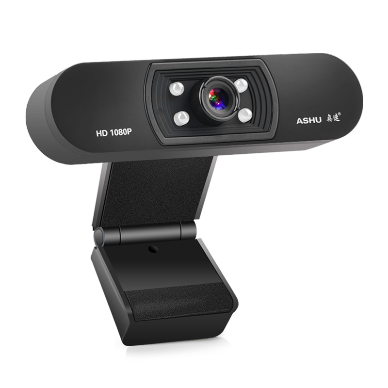 1080P Night Vision Webcam HD Web Camera with Built-in Microphone for Laptop Desktop black