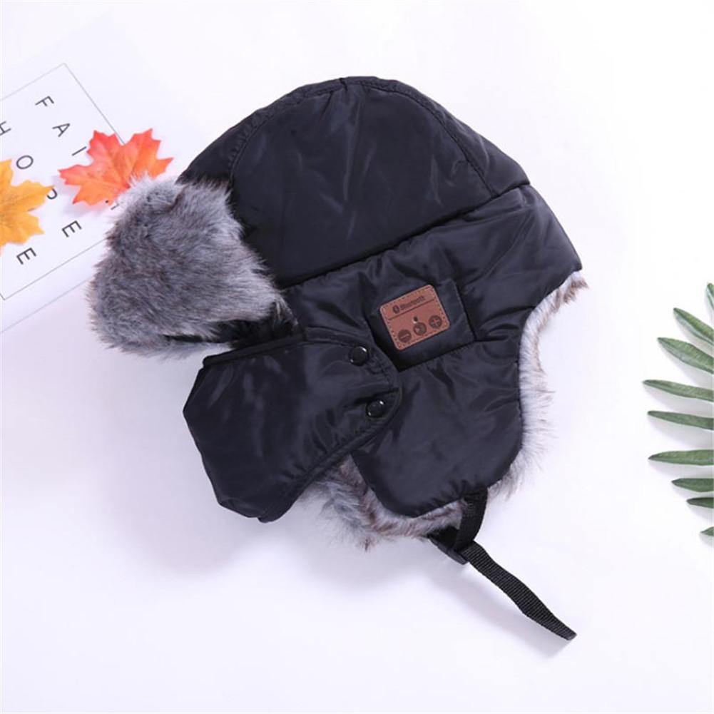 Bluetooth  Trapper Hat Winter  Trooper  Headphone Hat With Wireless Bluetooth 5.0 Windproof Music Hat Built-in Earphones Mic black