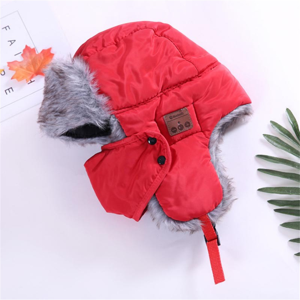 Bluetooth  Trapper Hat Winter  Trooper  Headphone Hat With Wireless Bluetooth 5.0 Windproof Music Hat Built-in Earphones Mic red