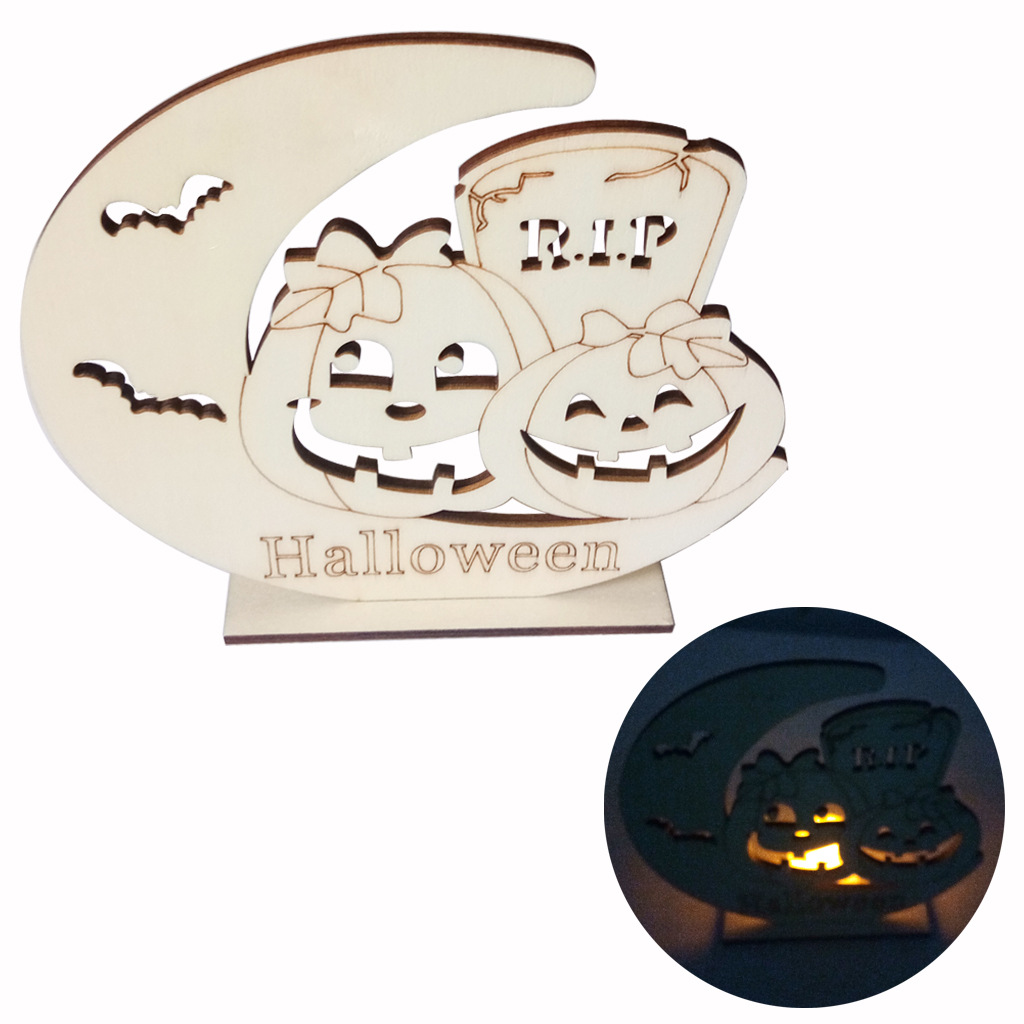 LED Wooden Candle Light DIY Moon Pumpkin Man/Tombstone/Ghost House Ornament for Halloween Party JM01651