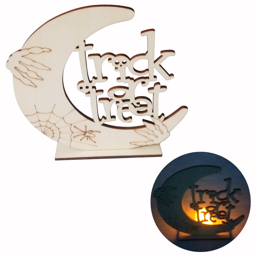 LED Wooden Candle Light DIY Moon Pumpkin Man/Tombstone/Ghost House Ornament for Halloween Party JM01652
