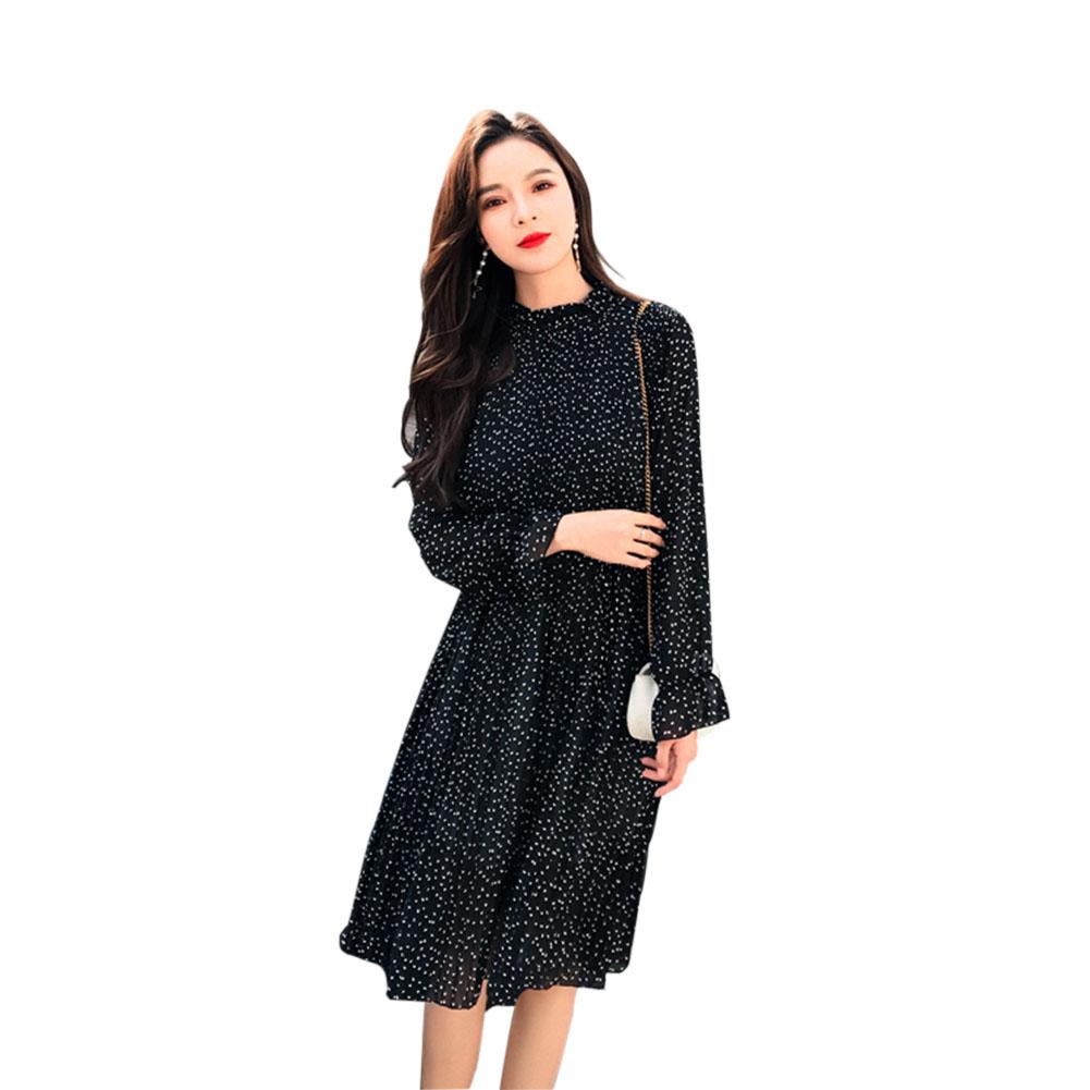 Women Standing Collar Dot Printing Pleated Dress