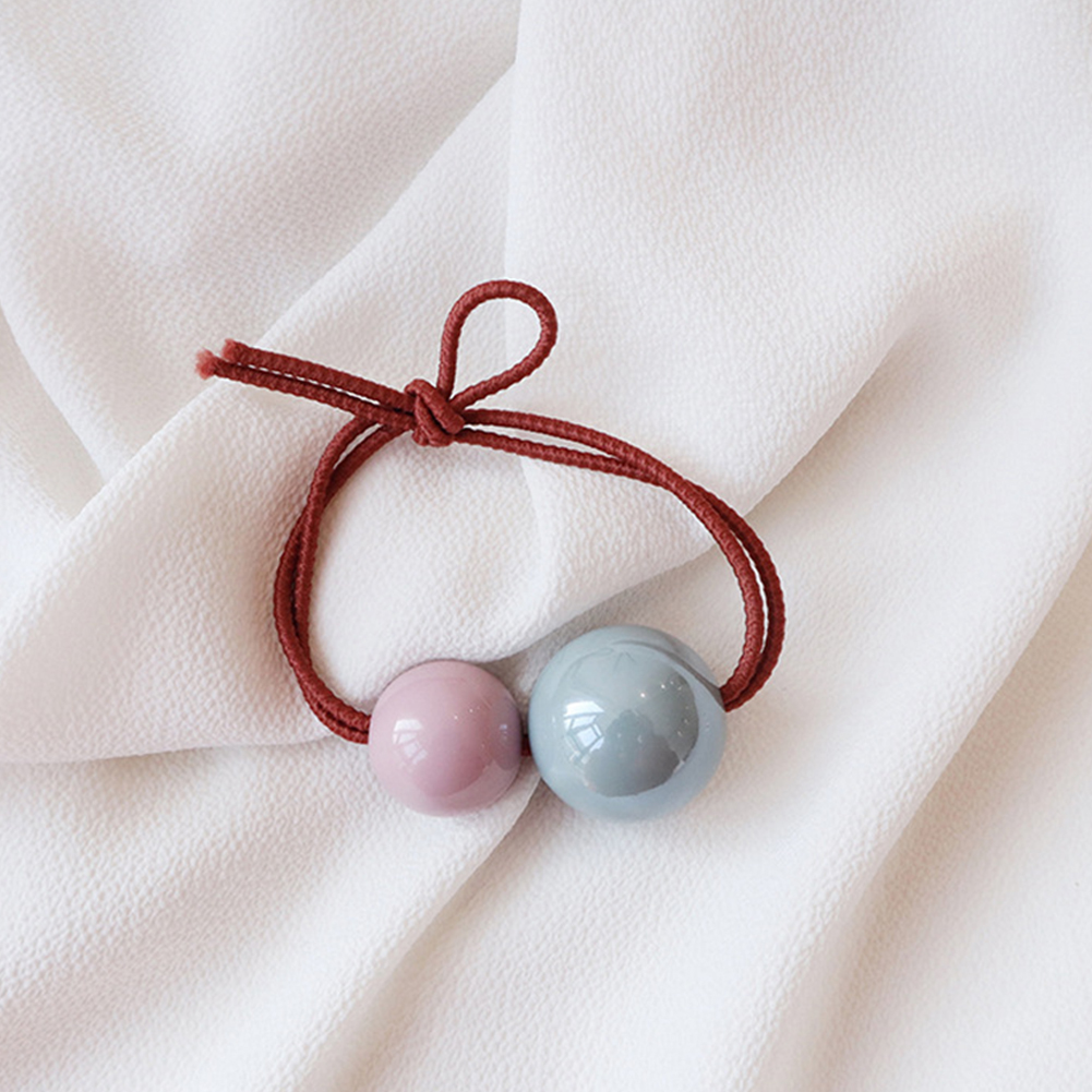 Women Cute Color Matching Ball Hair Band Rope