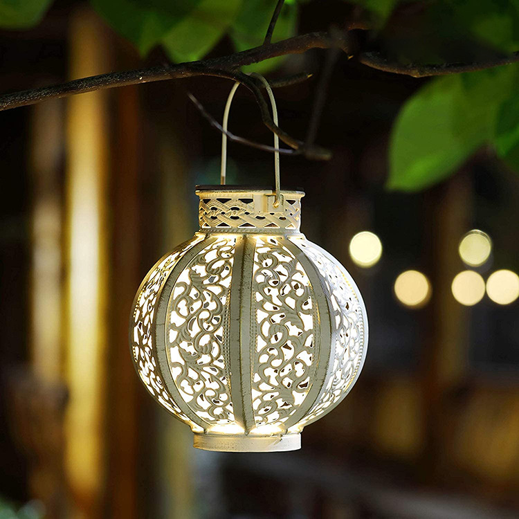 LED Hanging Solar Lanterns with Handle Outdoor Garden Lights Decoration White