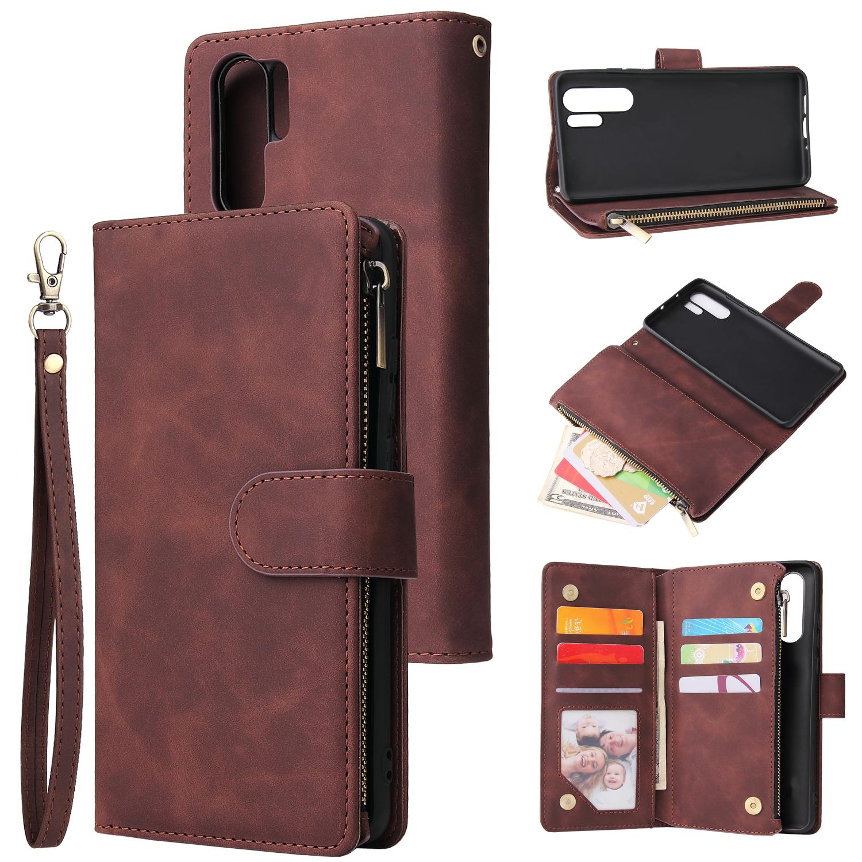 For HUAWEI P30 HUAWEI P30 lite HUAWEI P30 pro Multi-card Bracket Coin Wallet Zipper Mobile Phone PU Leather Phone Case  3 brown