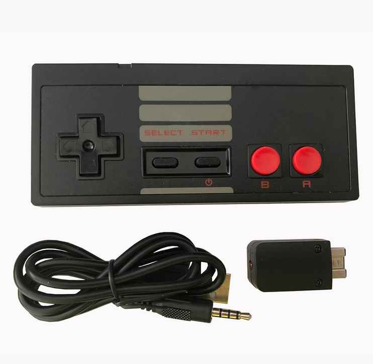 Wireless Play Gaming Controller for NES mini Classic Edition With Wrireless Receiver Gamepad and USB Receiver Black single pack