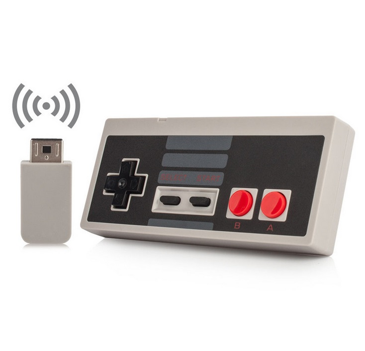 Wireless Play Gaming Controller for NES mini Classic Edition With Wrireless Receiver Gamepad and USB Receiver Gray single pack
