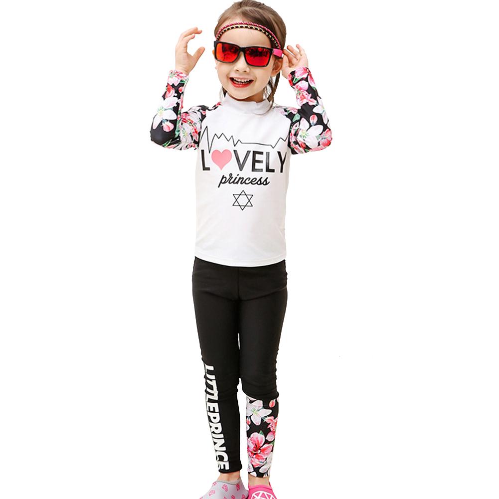 2 pcs/set Kids Girls Boys Long-sleeved Swimming Suit Muslim Style Swimsuit white_XXXXL