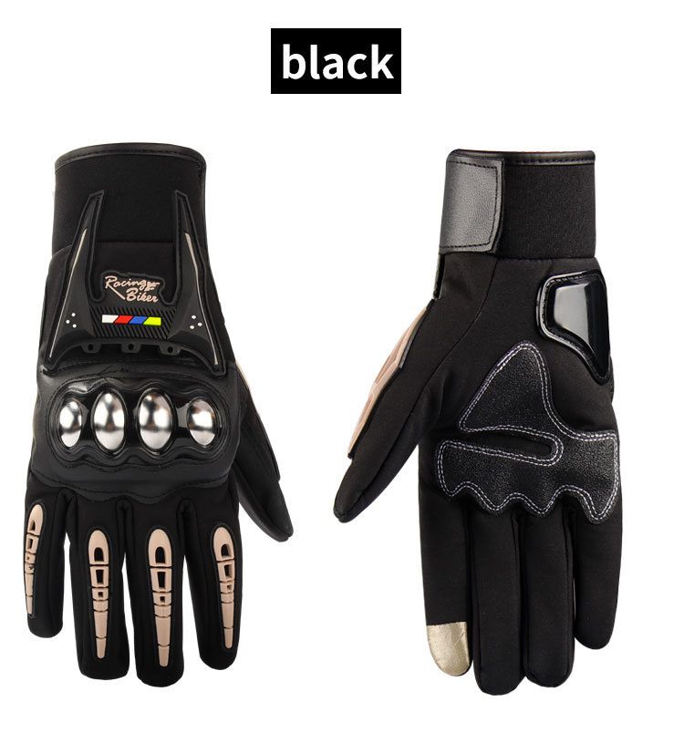Waterproof Motorcycle Gloves Outdoor Sports Hard Shell Protection Cycling Gloves Touch screen black_XXL