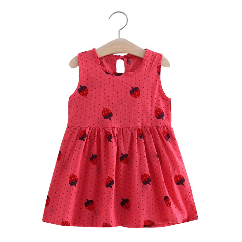 Girl Cute Strawberry Sleeveless Cotton Princess Flax Dress for Summer Rose red - strawberry vest skirt_90cm