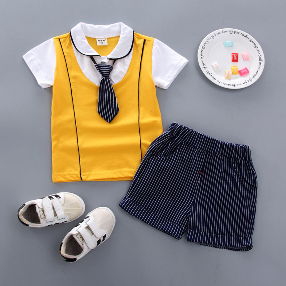 Children Boy Shirt Two-piece Set Baby Long Tie Short Sleeve Top and Shorts Fashionable Suit KY double led with yellow_100cm