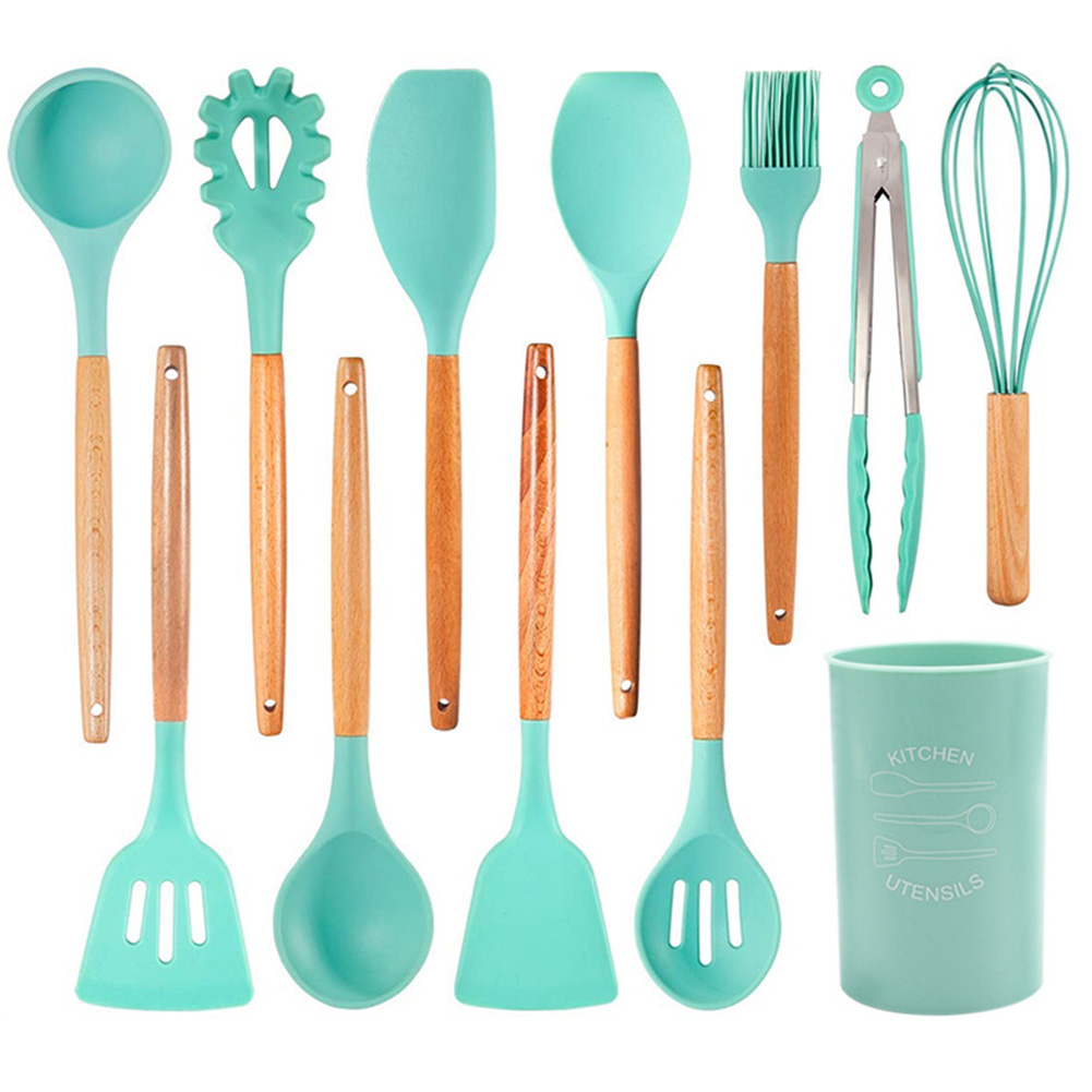 12Pcs/Set Nordic Style Wooden Handle Silicone Kitchenware with Storage Barrel Kitchenware 12-piece set with kitchenware bucket