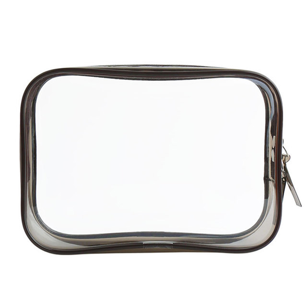 PVC Transparent Cosmetic Bag Zipper Clear Makeup Bags Beauty Case Make Up Organizer Storage Bath Toiletry Wash Bag gray