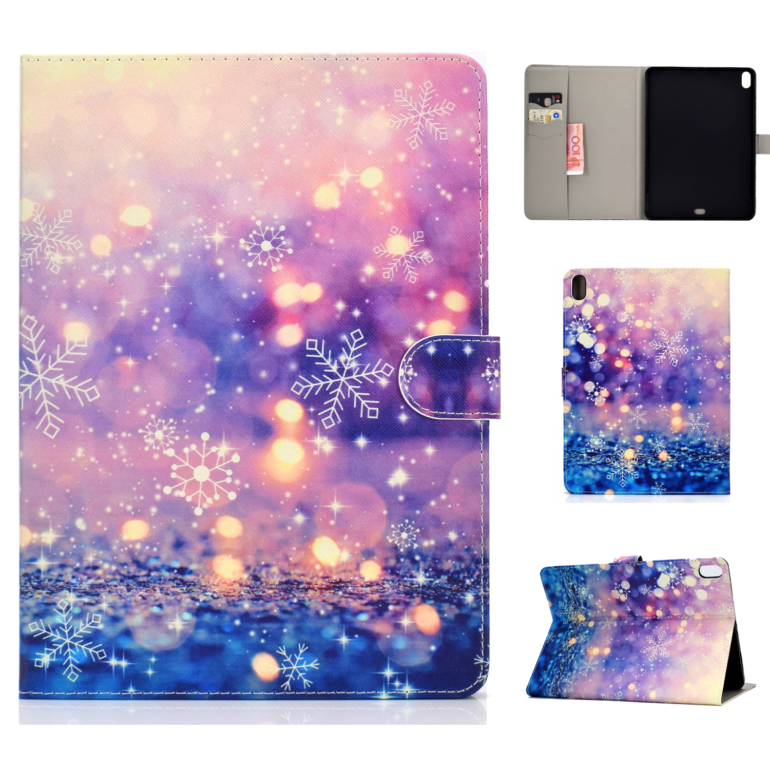 For iPad Pro 11 Laptop Protective Case Smart Stay Color Painted PU Cover with Front Snap Purple quicksand