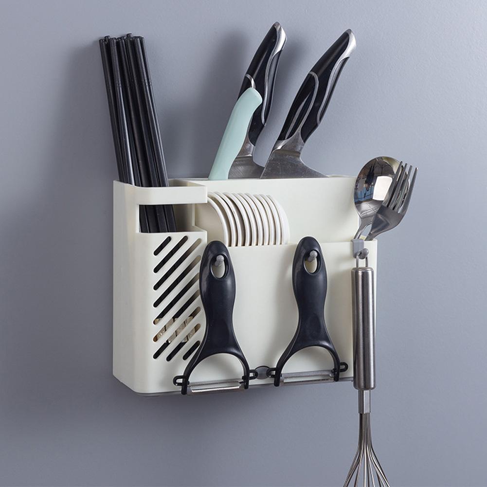 Wall-mounted Drain Holder Multifunction Kitchen Tableware Spoon Cutter Storage Towel Rack beige