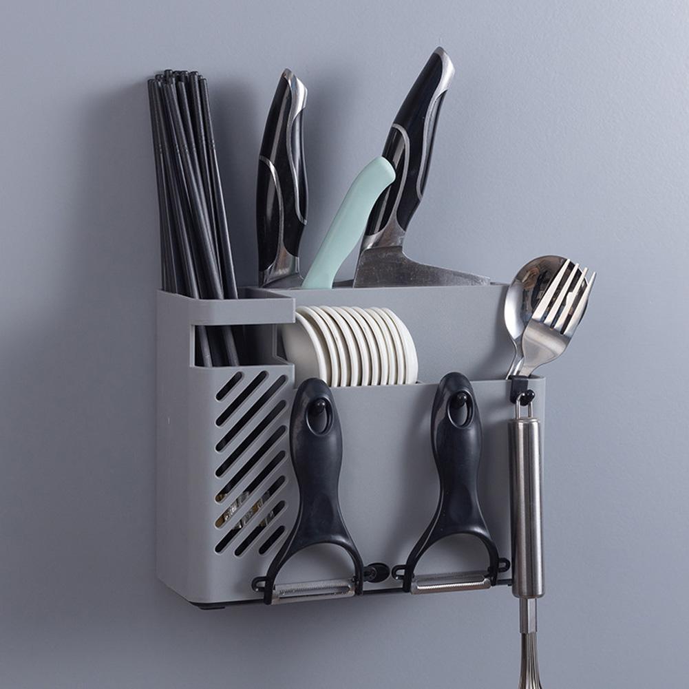 Wall-mounted Drain Holder Multifunction Kitchen Tableware Spoon Cutter Storage Towel Rack gray