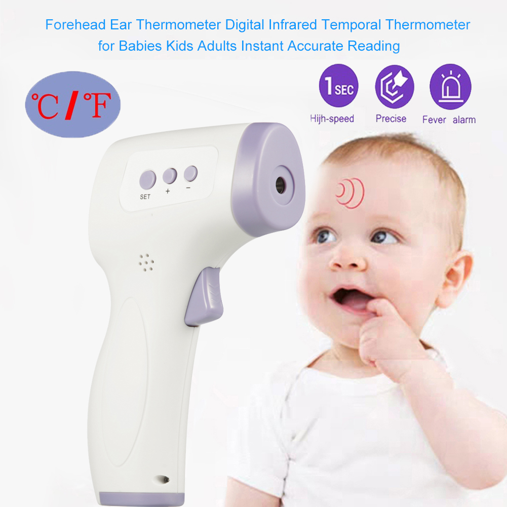 Infrared Digital Baby Thermometer LCD Body Measurement Forehead Ear Non-Contact Adult Body Fever IR Children Thermometer White + purple