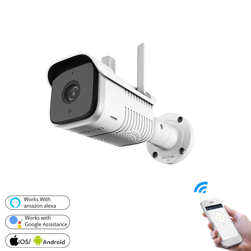 Outdoor Security Camera WiFi IP Camera with Two Way Audio Motion Detection Alarm and Night Vision white_U.S.Plug