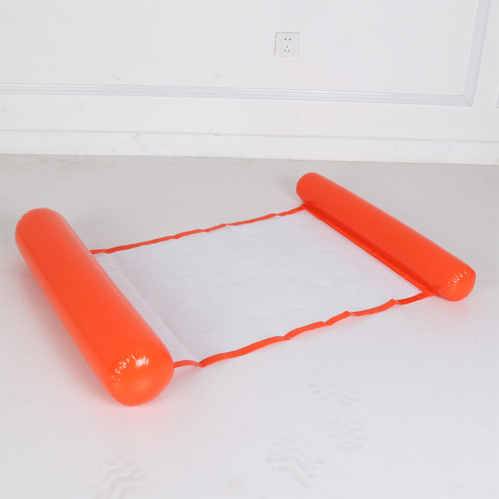 Inflatable Water Sofa Floating Bed Foldable Backrest Floating Row Netted Hammock  orange_116*73cm (environmental mesh)