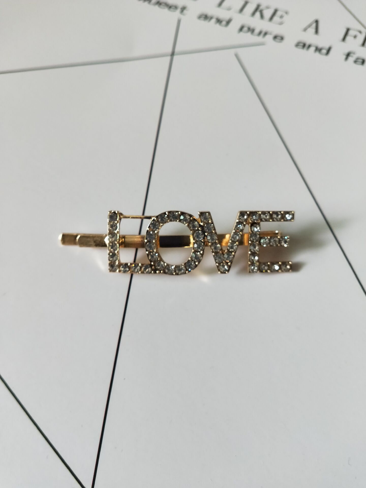 Women Girls Hair Clips Fashion Letter Crystal Hair Accessories Rose Gold LOVE