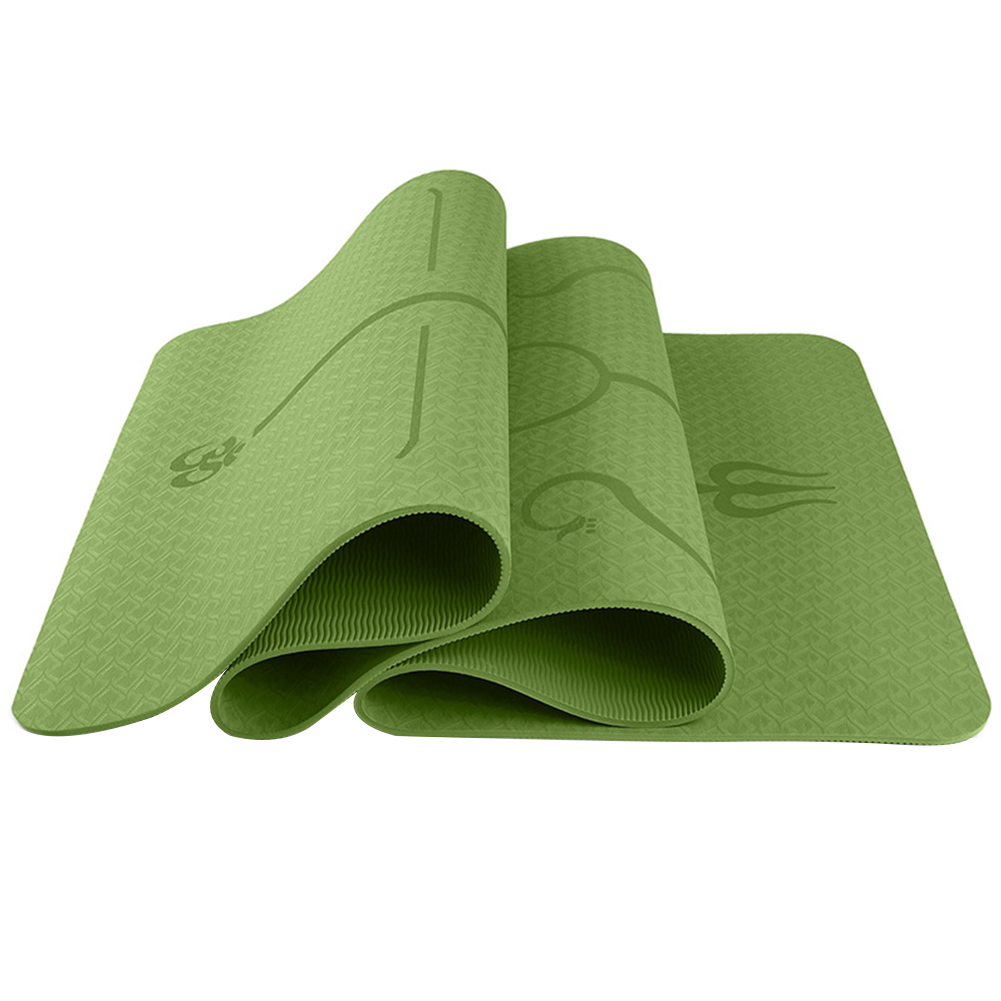 6mm Multi-functional Environmental Protection Yoga Pad TPE Yoga Mat Fitness Pad Body Line Style Bamboo cyan_183*61*0.6 body position line