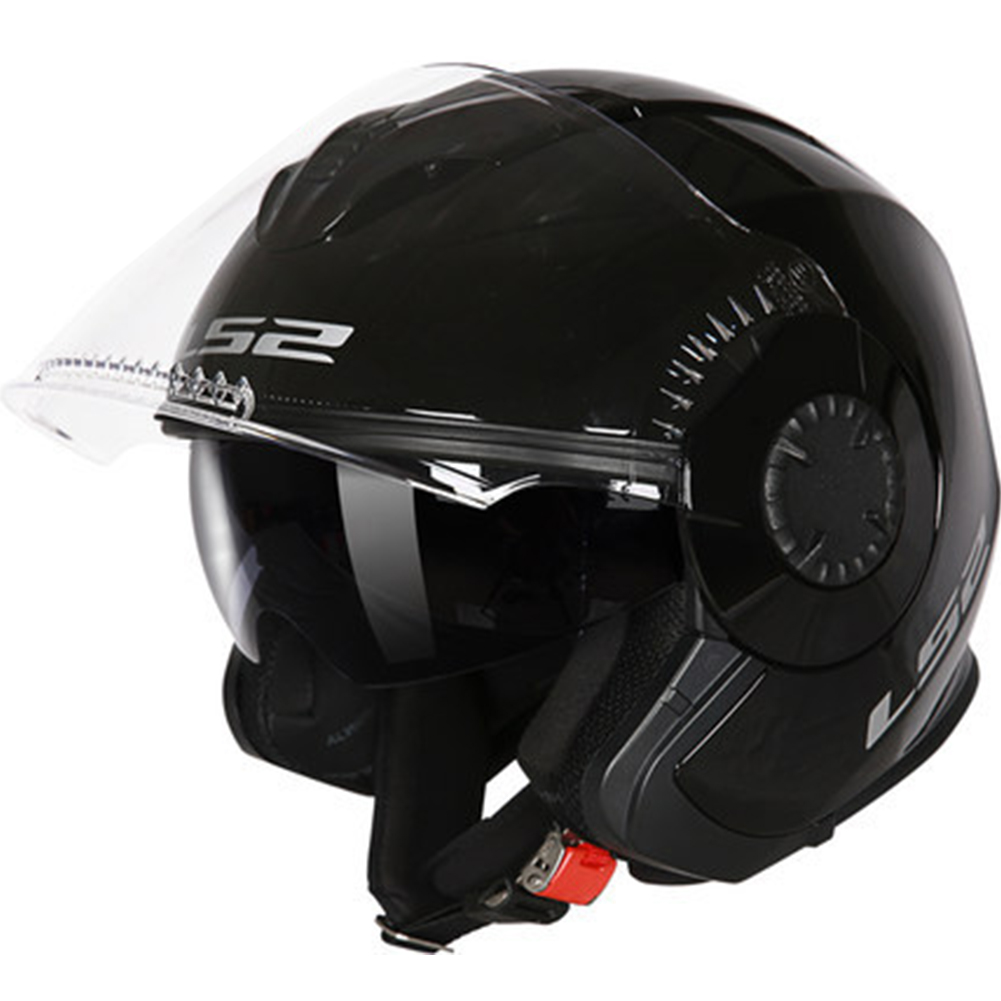 LS2 OF570 Helmet Dual Lens Half Covered Riding Helmet for Women and Men Motorcycle Helmet Casque Sub black XL