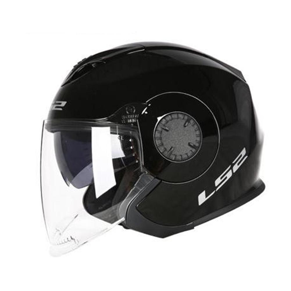 LS2 OF570 Helmet Dual Lens Half Covered Riding Helmet for Women and Men Motorcycle Helmet Casque Bright black XXL