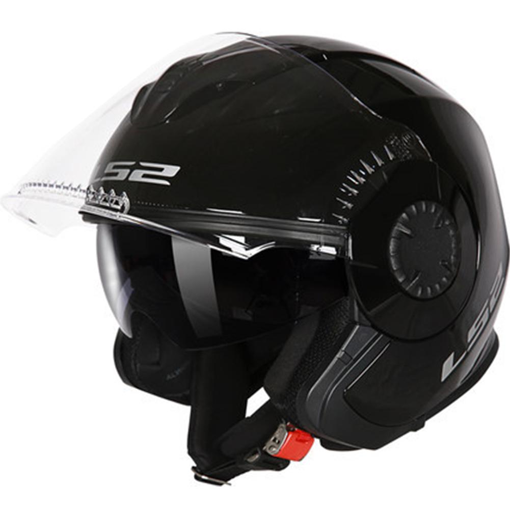 LS2 OF570 Helmet Dual Lens Half Covered Riding Helmet for Women and Men Motorcycle Helmet Casque Sub black XXL