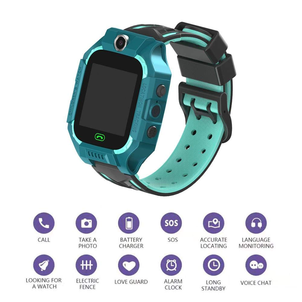 Kids Smart Watch Phone Kids GPS Tracker Watch with SOS Anti-Lost Alarm Sim Card Slot Touch Screen Alarm Clock Digital Wrist Watch E12 for Boys and Girls green