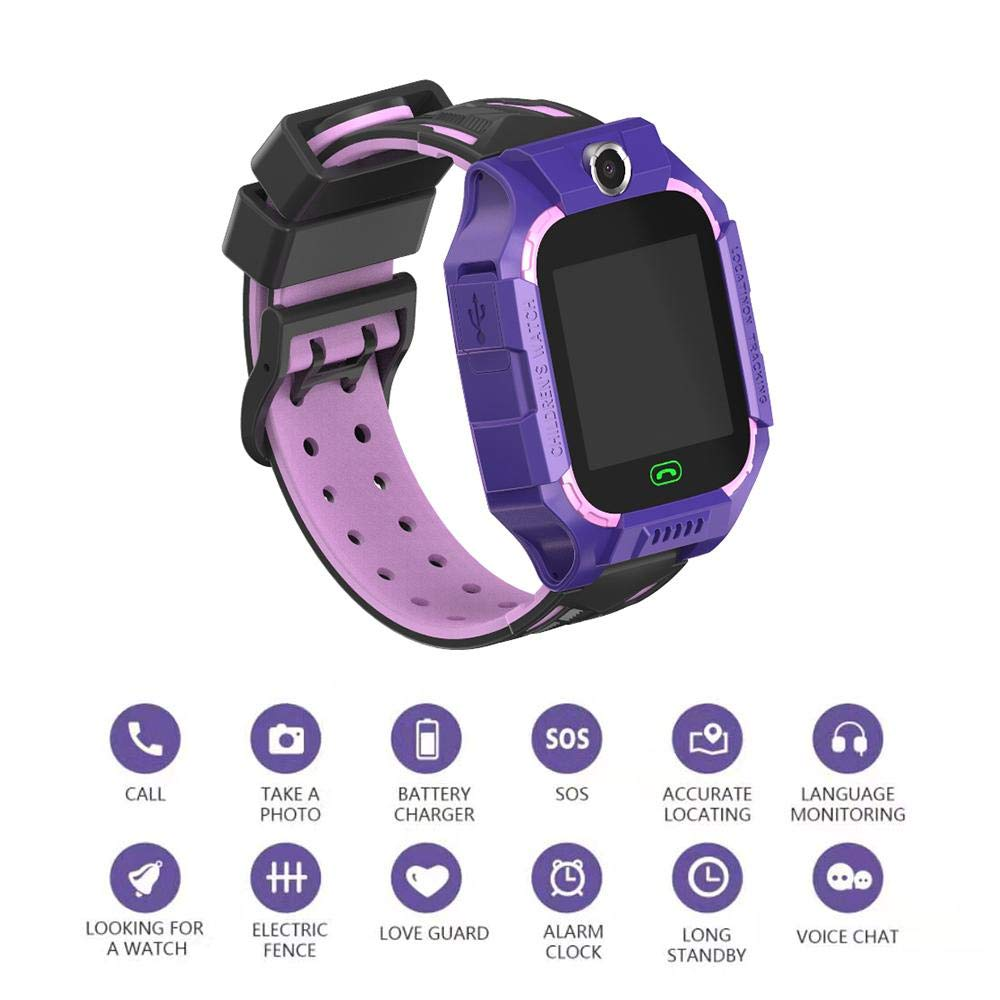 Kids Smart Watch Phone Kids GPS Tracker Watch with SOS Anti-Lost Alarm Sim Card Slot Touch Screen Alarm Clock Digital Wrist Watch E12 for Boys and Girls purple