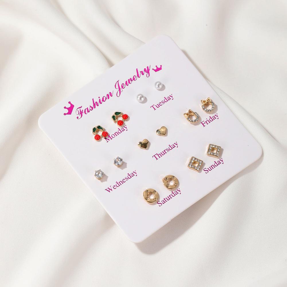 7 Pair of Women's Earrings Various Shape Combination Earrings Cherry
