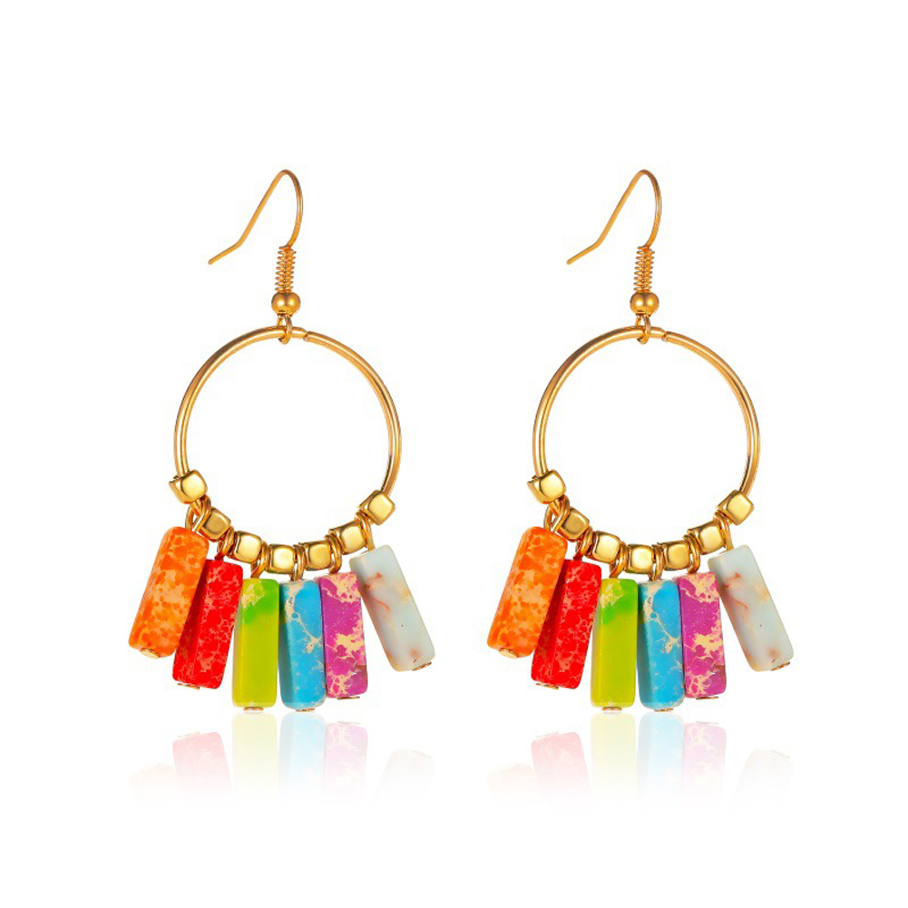 1 Pair of Women Earrings Bohemian Style Colored Stone Tassel Turquoise Earrings Golden