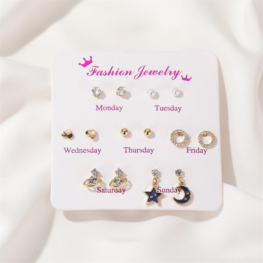 7 Pair of Women's Earrings Various Shape Combination Earrings star and moon