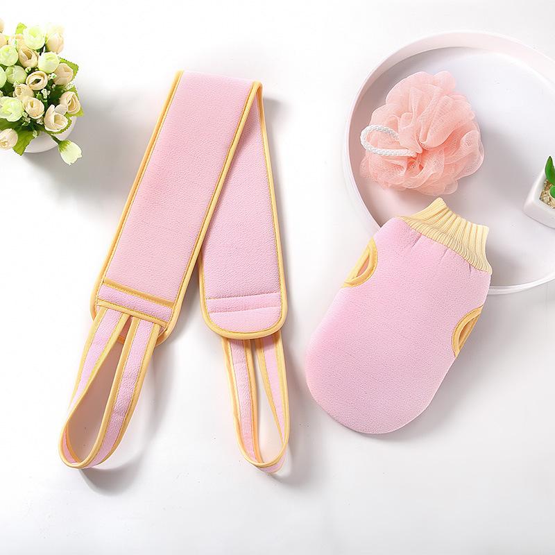 3pcs Adults wash towel Cleaning the back Bath towel bar+ Bath Sponge+ bath gloves Dead Skin Removal pink
