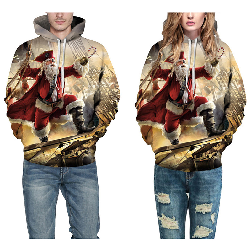 Christmas Unisex 3D Digital Printing Hoodies Funny Fashionable Hooded Pullover Sweatshirts