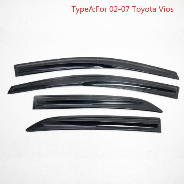 4PCS  Sun Rain Visor Window Shield Deflector For Toyota Vios Sedan Model 02-07