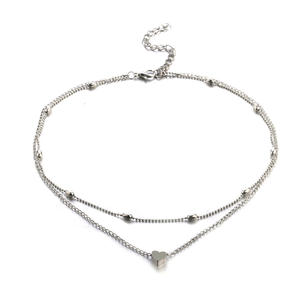 Women Necklace Alloy Simple Style Fashion Peach-heart-shape Multi-layer Clavicle Necklace Silver