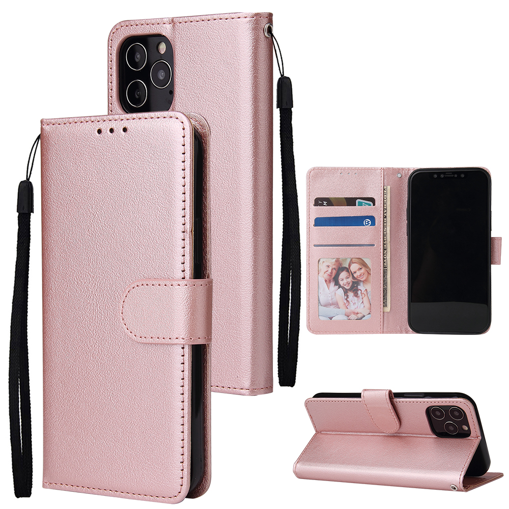 For Iphone 12 5.4 inch/6.1 inch/ 6.7 inch PU Leather Three-card Photo Frame Front Buckle Mobile Phone shell Rose gold