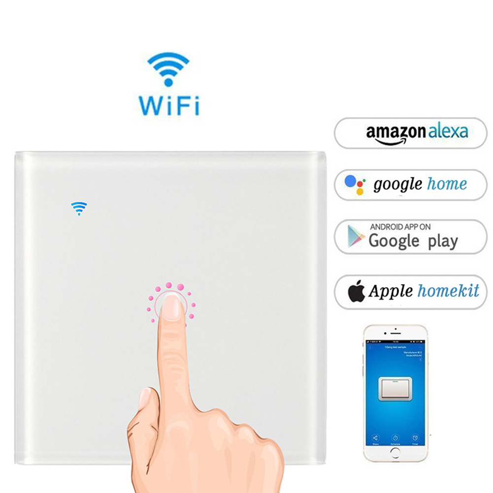 Intelligent WIFI Touch Remote Control Switch Voice Control WIFI Smart Panel Switch (1 channel) white_EU/UK Plug